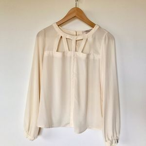 love21 Off-white Sheer cut-out Blouse